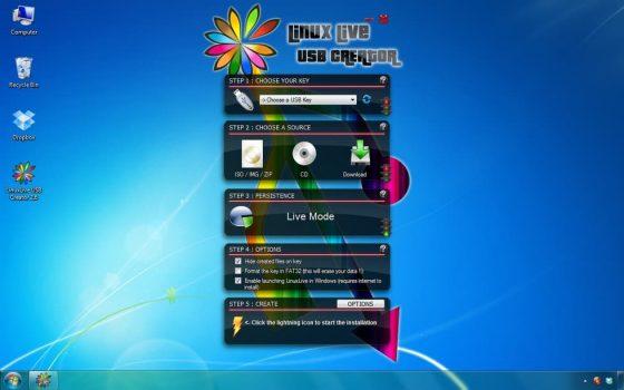 Obrázek: Linux Live USB Creator má velmi originální vzhled