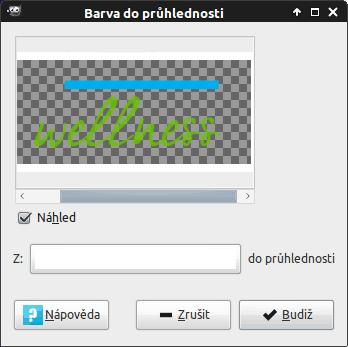 GIMP: Barva do průhlednosti